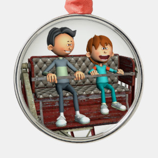 Cartoon Father and Son on a Ferris Wheel Metal Ornament