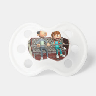 Cartoon Father and Son on a Ferris Wheel Pacifier