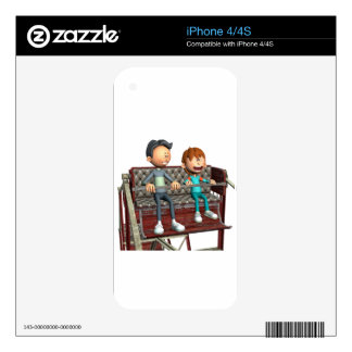 Cartoon Father and Son on a Ferris Wheel Skins For iPhone 4S