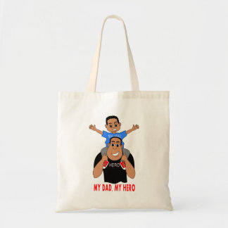 cartoon father carrying son on shoulders tote bag