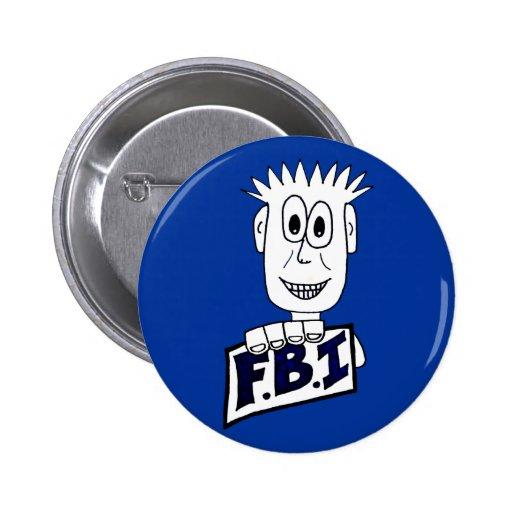 Cartoon FBI Agent Pinback Button