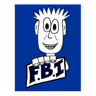 Cartoon FBI Agent Post Card