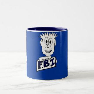 Cartoon FBI Agent Two-Tone Coffee Mug