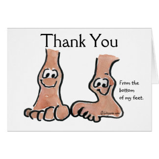 Cartoon Feet Thank You Greeting Card