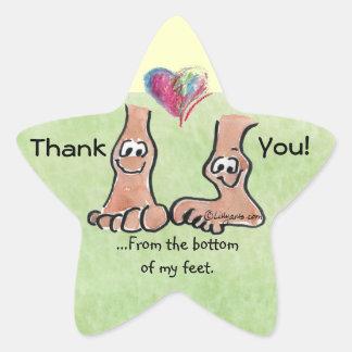 Cartoon Feet Thank You w/ Heart on Star Sticker
