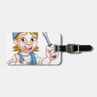 Cartoon Female Electrician Holding Screwdriver Luggage Tag