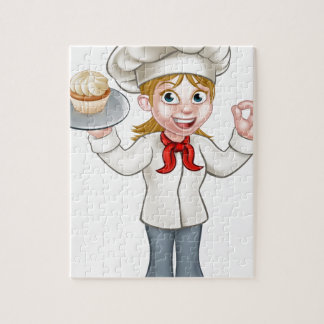 Cartoon Female Woman Baker or Pastry Chef Jigsaw Puzzle