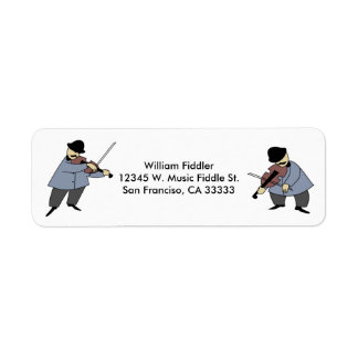 Cartoon Fiddle Players Violin Music Custom Fiddler Label