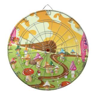 Cartoon field of Mushrooms Dartboard With Darts