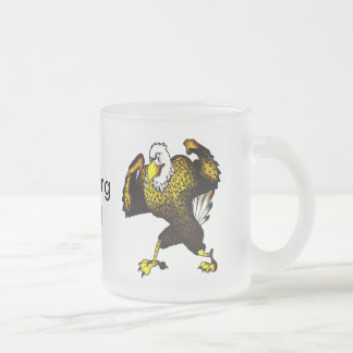Cartoon Fighting Eagle Frosted Glass Coffee Mug