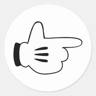 cartoon finger gun round stickers