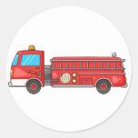 Cartoon Fire Truck/Engine Classic Round Sticker