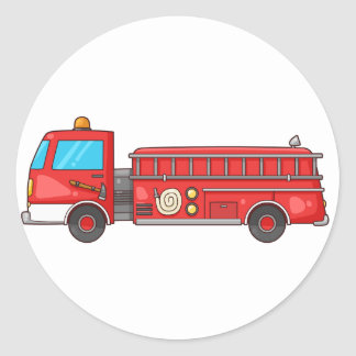 Cartoon Fire Truck/Engine Classic Round Sticker