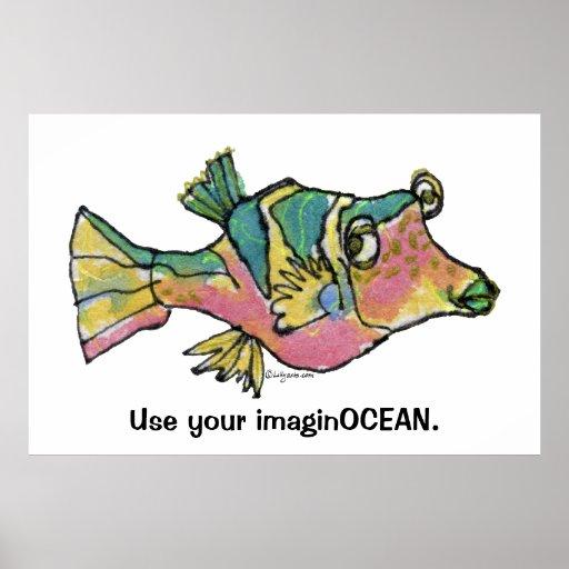 Cartoon Fish 001 ImaginOCEAN Poster Large