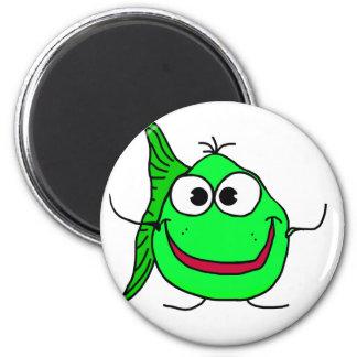 Cartoon fish 2 inch round magnet