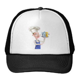 Cartoon Fish and Chips Chef Pointing Trucker Hat