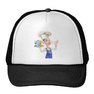 Cartoon Fish and Chips Chef Trucker Hat