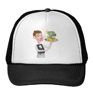 Cartoon Fish and Chips Waiter Butler Pointing Trucker Hat