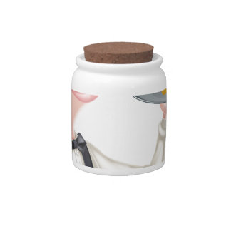 Cartoon Fish and Chips Waiter Candy Dish