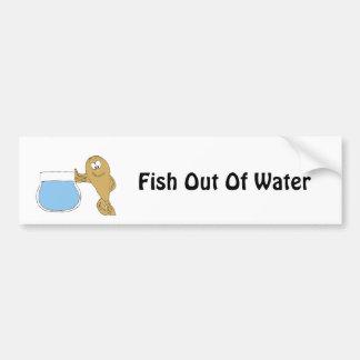 Cartoon Fish By Fish Bowl Bumper Sticker