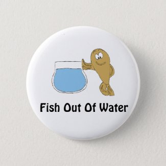 Cartoon Fish By Fish Bowl Button