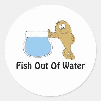 Cartoon Fish By Fish Bowl Classic Round Sticker