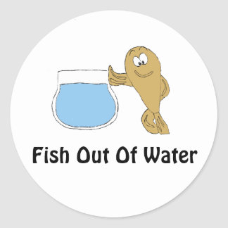 Cartoon Fish By Fish Bowl Classic Round Sticker