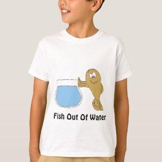 Cartoon Fish By Fish Bowl T-Shirt