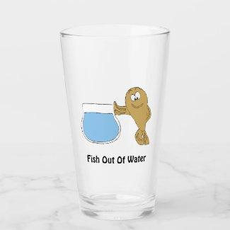 Cartoon Fish By Fish Bowl T-Shirt Glass