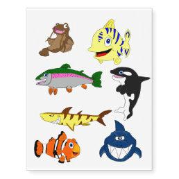 Cartoon fish design temporary tattoos