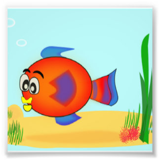 cartoon fish photo print