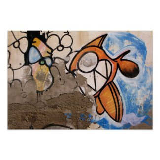 Cartoon Fish Street Art of Las Palmas