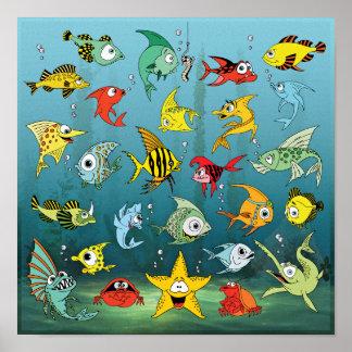 Cartoon Fish Underwater Poster