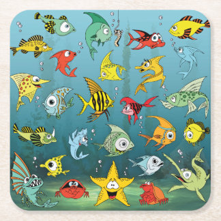 Cartoon Fish Underwater Square Paper Coaster