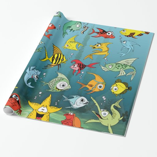 Cartoon fish underwater wrapping paper zazzle for Fish wrapping paper
