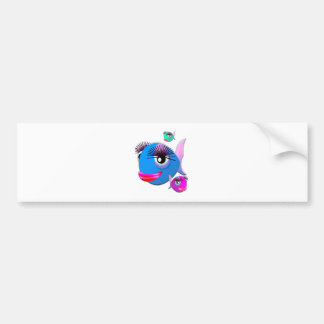 Cartoon Fish with BIg Lips and Eyelashes Bumper Stickers