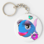Cartoon Fish with BIg Lips and Eyelashes Key Chain