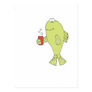Cartoon Fish With Bubbly Soda Postcard