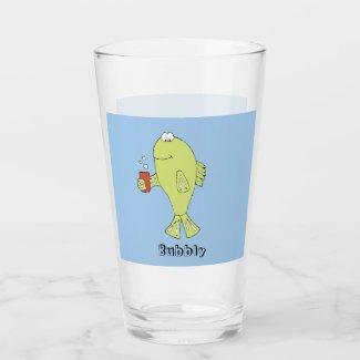 Cartoon Fish With Bubbly Soda T-Shirt Glass