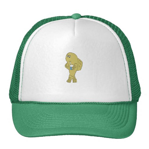 Cartoon Fish With Soda Trucker Hat