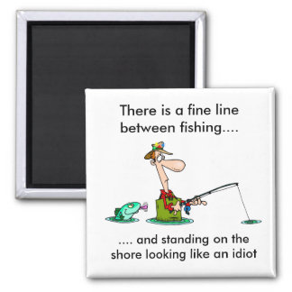 cartoon fishing.. 2 inch square magnet