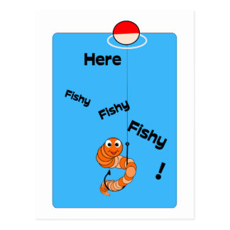 Cartoon Fishing Worm - Fishy Postcard