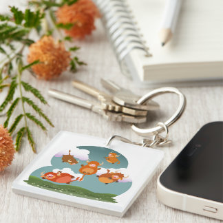 Cartoon Floating Highland Cows Acrylic Keychain
