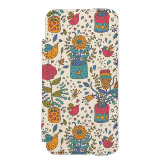 Cartoon floral pattern with birds 2 iPhone SE/5/5s wallet case
