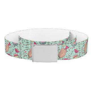 Cartoon floral pattern with birds belt