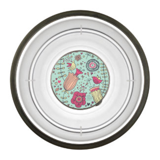 Cartoon floral pattern with birds bowl