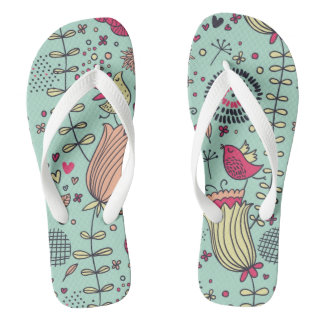 Cartoon floral pattern with birds flip flops