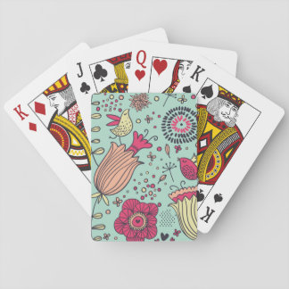 Cartoon floral pattern with birds playing cards