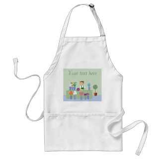 Cartoon Florist In Store With Flowers Personalized Adult Apron