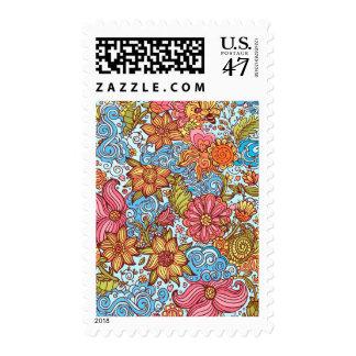 Cartoon flowers postage